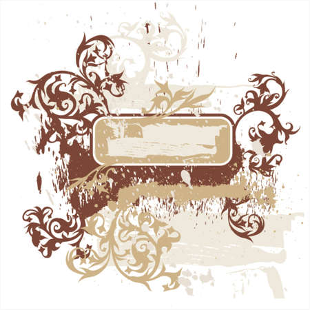 calligraphy flowers ornament on brown grunge vignette Stock Vector - 937490