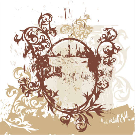 calligraphy flowers ornament on brown vignette Stock Vector - 937494