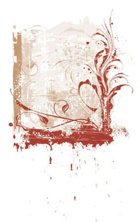 calligraphy flowers ornament on beige grunge background Stock Vector - 937499