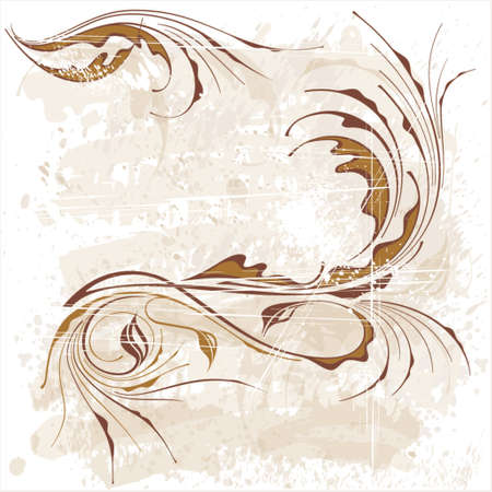 calligraphy flowers ornament on beige grunge background Illustration