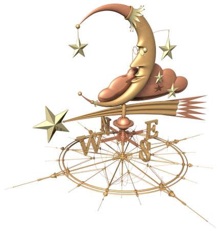 vane: weather vane (moon & stars on wind rose)