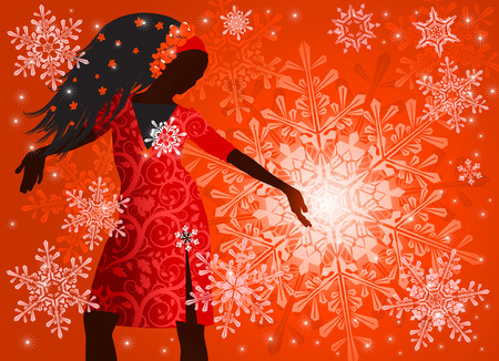 hot girl on red background & snowflakes Stock Vector - 2029174