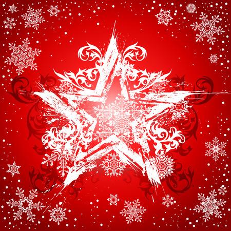 grunge white star on red background Illustration