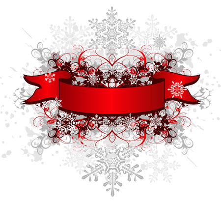 snowing: red ribbon on grunge flower background & snowflakes Illustration