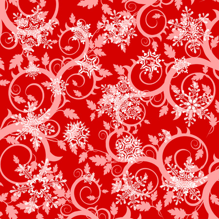 red floral background & snowflakes Stock Vector - 2029164