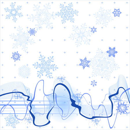 soundwave: soundwave, winter background & snowflakes