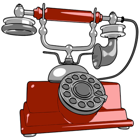 rotary dial telephone: vintage telephone Illustration