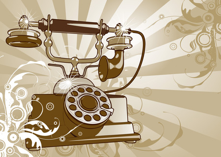 telephony: Retro phone on a floristic background