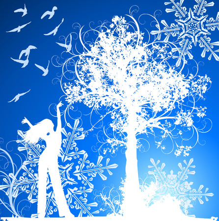 Girl, tree, birds & snowflakes on blue  winter flowers background Vector