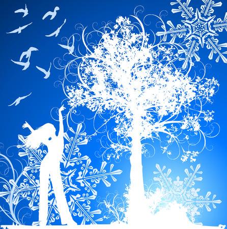 �rboles con pajaros: La muchacha, el �rbol, los p�jaros y los copos de nieve en invierno azul florece el fondo