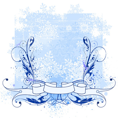 Vintage floral patterns, ribbon, snowflakes & winter blue background Vector