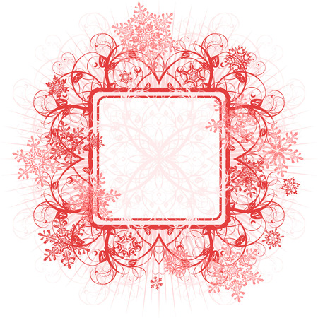 red floral frame & snowflakes Vector