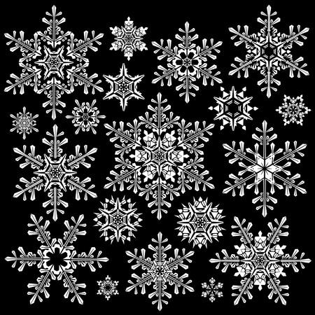 white snowflakes on black background