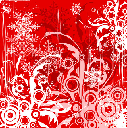 red grunge floral background & snowflakes Vector