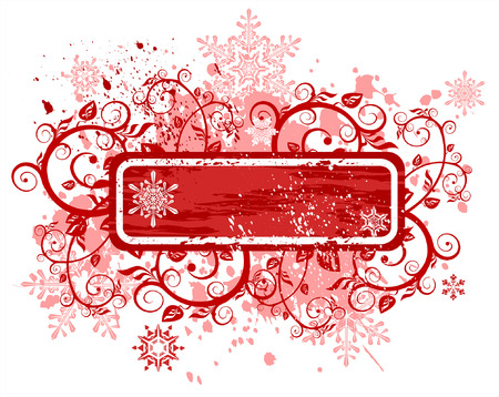 year january: Vintage red frame, floral ornament snowflakes