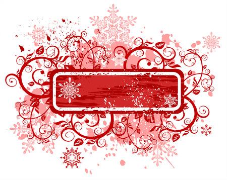 Vintage red frame, floral ornament snowflakes