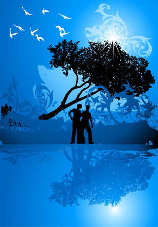 Girl, boy, tree, water and birds on blue flowers background Stock Vector - 2171609