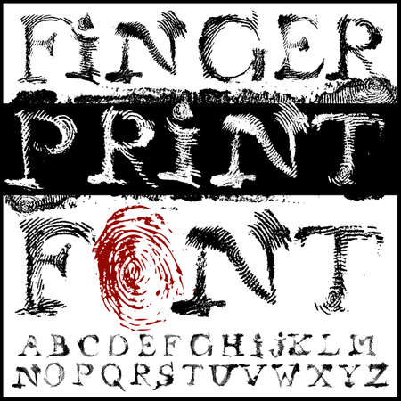 id theft: fingerprint font Illustration
