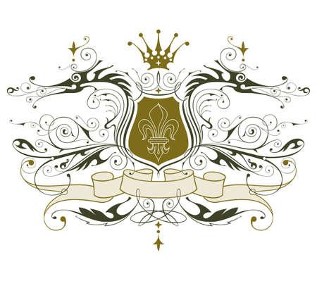 vintage heraldic emblem ( dragons, shield & lily, crown & ribbon ) Stock Vector - 2171617