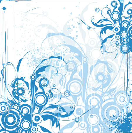 blue floral ornament on white background Stock Vector - 2171625