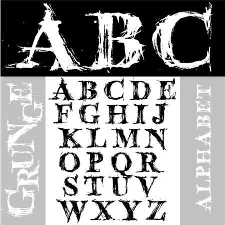 Hand draw grunge alphabet Stock Vector - 2171659