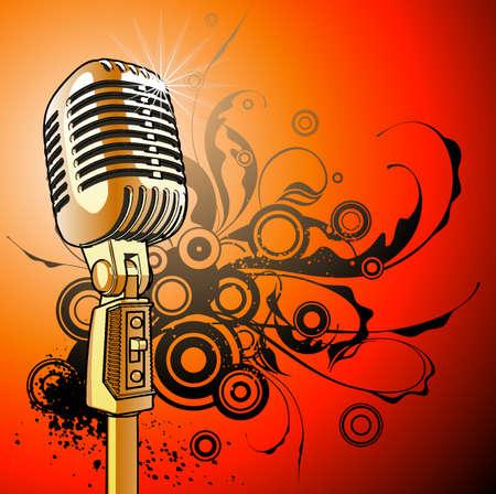 vintage microphone - vector Vector