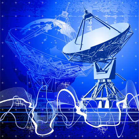 satellite dishes antenna (doppler radar) Vector