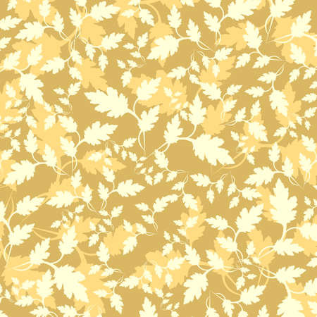 beige & yellow flowers ornament on yellow background (wallpaper)