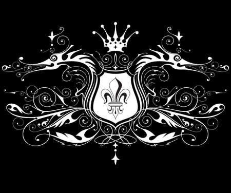 vintage heraldic emblem ( dragons, shield, lily & crown ) Vector