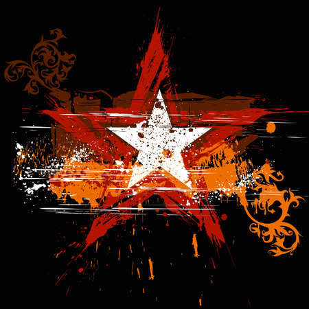 grunge: red star on black background and orange grunge flowers ornament