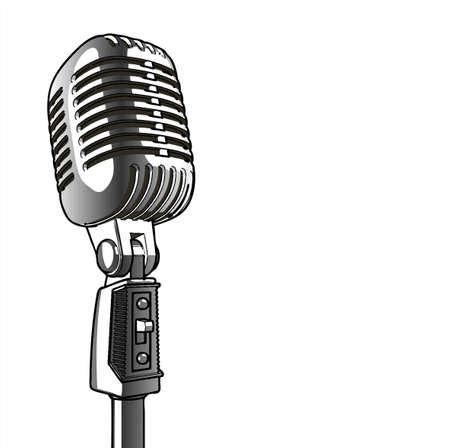vintage microphone: Vintage Microphone - vector Illustration