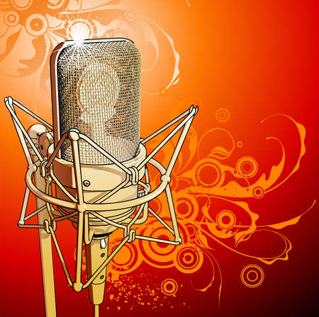 Gold professional microphone Vector