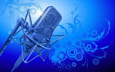 rueda de prensa: VECTOR micr�fono profesional en haces de luz azul