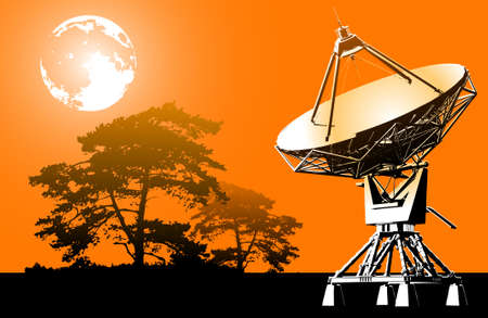 Radar of space communication on a background of the orange sky with the moon and trees