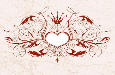 heart and crown: Vintage emblema con cuore e corona  Vettoriali