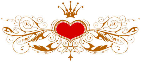 heart and crown: Vintage emblem with heart & crown