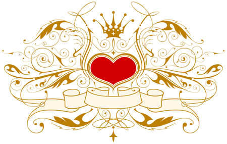 Vintage emblem with heart, crown & ribbon Vector