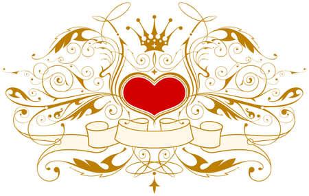 heart and crown: Vintage emblema con cuore, corona e nastro