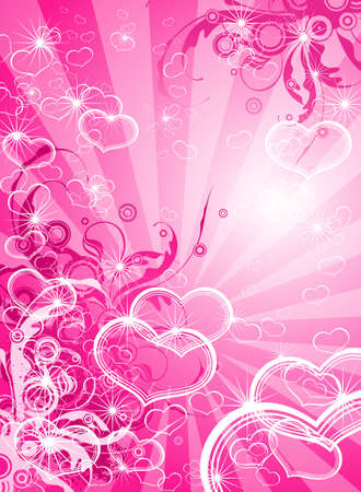 pink valentines background - floral ornament & hearts Vector