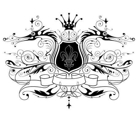 vintage heraldic emblem ( dragons, shield, lily, ribbon & crown ) Stock Vector - 2395117