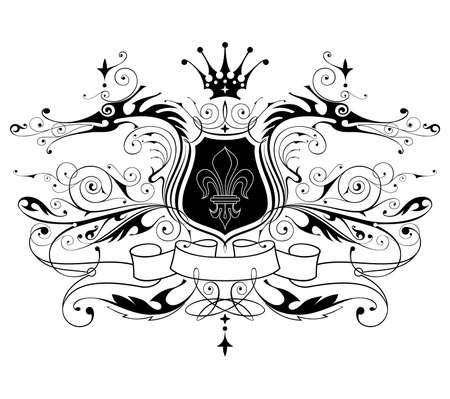 vintage heraldic emblem ( dragons, shield, lily, ribbon & crown ) Vector