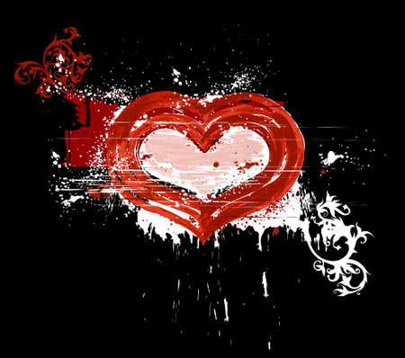grunge heart & floral ornament Vector