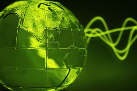 abstract green glass globe & wave pattern (water inside and small bubbles) photo