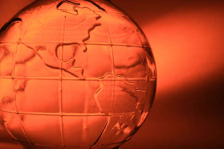abstract glass globe (water inside and small bubbles) photo