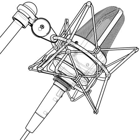 Professional microphone: 3d wire-frame technical draw