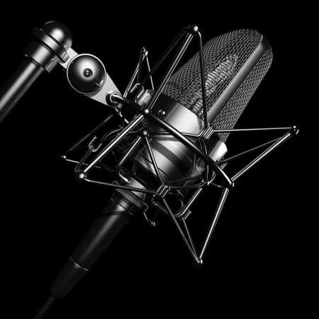 radio retr�: Black microfono professionale  Archivio Fotografico