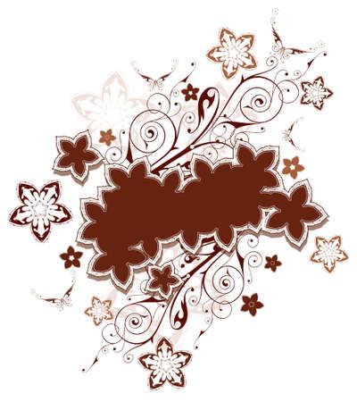 dingbats: Floral pattern. Flowers & butterflies. Chocolate color