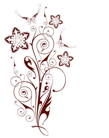 Floral pattern. Flowers & butterflies. Chocolate color