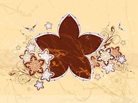 Floral background. Flowers & butterflies. Chocolate vanilla color. Elements on a separate layers Vector