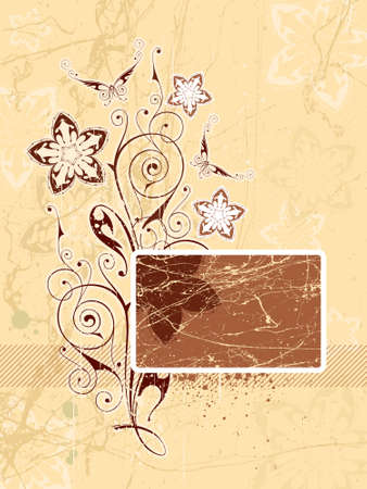 vanilla: Flowers & butterflies. Chocolate vanilla color. Elements on a separate layers